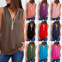 Women Summer Sleeveless V-Neck Long Chiffon Blouse T-Shirt Tank Tops Plus Size