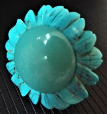 Huge LOLA ROSE Sterling Silver Turquoise Flower Statement Ring