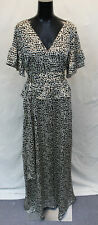 Lost Ink Womens Belted Waist Leopard Print Maxi Dress AN3 Black Size US:10 UK:14