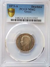1873-A GREECE PCGS-MS62 SILVER DRACHMA COIN