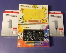 new Nintendo 3DS XL *Pikachu Yellow + Solgaleo Lunala Black* Combo Pack NEW