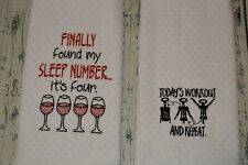 New listing Funny Wine Kitchen Dish Towel Embroidered Dish Cloth, set of 2 Towels, Drinking