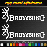 2 x Browning 20cm Vinyl Sticker Decal, ute car hunting deer buck fishing firearm