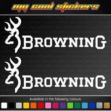 2 x Browning 20cm Vinyl Sticker Decal, ute car hunting deer buck fishing firearm