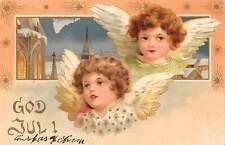 God Jul! Christmas! Cherubs Angels, Gold, Stars, Souvenir