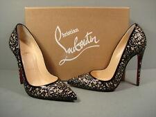 LOUBOUTIN Black Patent Silver Glitter SO PRETTY Point Toe Pumps Heels 35.5/5 NEW