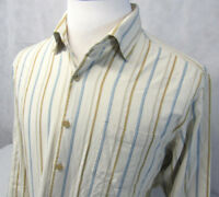 Tommy Bahama Silk Long Sleeve Button Front Ivory Colorful Striped Shirt Mens L