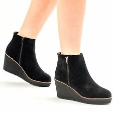 WOMENS LADIES FAUX SUEDE MID LOW HEEL WEDGE WORK ANKLE BOOTS SHOES SIZE