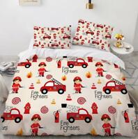3D Firemen Red Truck Safety KEP23 Bed Pillowcases Quilt Duvet Cover Kay