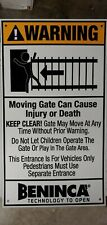 2 Pc Warning signs for moving Gate Opener Operator 8-3/4 X 15-1/4 Italian made