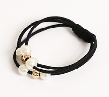 New 1Pc Women Lady High Elastic Pearl Hair Ring Hairband Hair Towel Black Style
