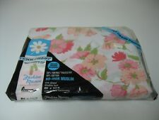 """Vintage Penneys Penn Prest Pink Floral Double Bed Sheet 81""""X 104"""" New #2"""