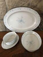 "Noritake China CAROLYN Serving Pieces 16"" Platter 9""  Vegetable Bowl Gravy Boat"