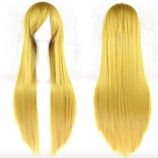 80cm Long Straight Lady Synthetic Hair Wig Heat Resistant Anime Cosplay Wigs