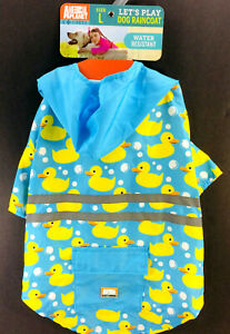Animal Planet Dog Raincoat/Dress Hood Pocket Pet Water Resistant Ducks Paw Bunny