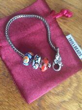 Genuine Troll bead Silver Leaf Bracelet With 3 Troll beads Plus Gift Box / Bag