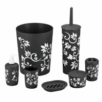 Durable 7 Piece Printed Bathroom Set in Black