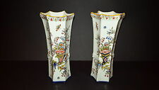 Pair of Antique 19th Century French Faience Pottery Hexagonal shaped vases c1900