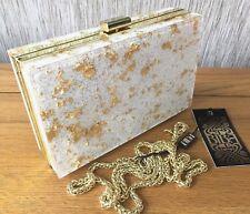 ba0f7e456f8c08 BIBA WHITE & GOLD PERSPEX BOX CLUTCH / SHOULDER BAG BNWT