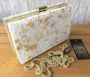 BIBA WHITE & GOLD PERSPEX BOX CLUTCH / SHOULDER BAG BNWT