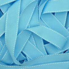 Saddle Stitched Grosgrain Ribbon in 20 Plain Solid Colours 10mm 15mm 25mm