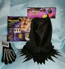 YOUTH SKELETON GLOVES & INVISIBLE MASK & Nightmare WEREWOLF MAKEUP KIT Halloween