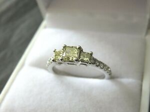 1.17 carats NATURAL FANCY YELLOW AND WHITE DIAMONDS PLATINUM Ring