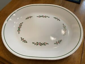 """Corelle Holiday Holly Days Oval Serving Platter Christmas 12"""" x 10 Holly Berries"""