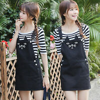 Women Casual Denim Cat ears Pattern Strap Dungaree Mini Dress Overalls Skirts