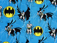 BATMAN LOGO FABRIC  SUPERHERO DC COMICS  COTTON ROPE CAMELOT COTTON  BY THE YARD