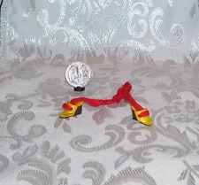 VINTAGE MATTEL BARBIE LEG ANKLE TIE YELLOW MOD WEDGIE DRESS SHOES MARKED TAIWAN