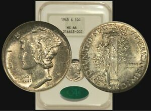 1945-S Mercury Dime NGC MS66 CAC Old Holder Gen 4.0