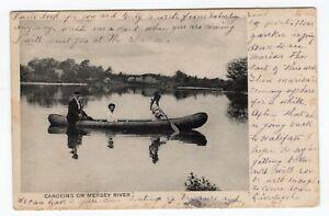 Canada NS Nova Scotia - Mersey River / Micmac Indian Canoe - 1907 Postcard -