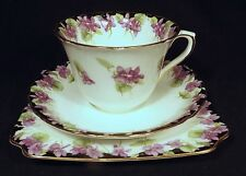 1929 ROYAL DOULTON TRIO VIOLETS WITH GILDED TRIM H3747 SLIGHT USED CONDITION
