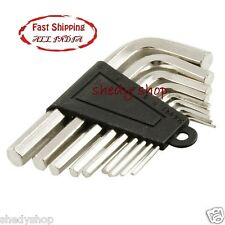 Wrench Set 9 PCS Silver Tone Metal Inner Hex Allen Key 9 jacks make..
