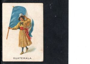 VERY EARLY GUATEMALA PATRIOTIC CIGARETTE CARD, WOMAN WITH A LARGE FLAG, SCARCE
