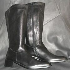 Russell & Bromley womens Black leather zip-up mid-calf Boot size EUR 40 1/2