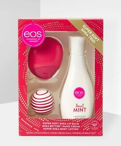 Sweet Mint EOS Gift Set - Body Lotion / Hand Cream / Lip Balm Limited Shea Trio