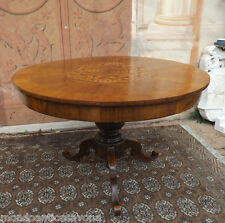 Bellissimo tavolo rotondo con piano intarsiato epoca '800, restaurato