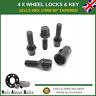 Set Of Black Locking Wheel Bolts 4 + Key M12X1.5 For BMW X1 E84 MK1 (2009-12)