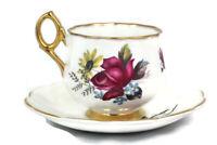 Royal Dover Bone China White Red Floral Gold Trim Teacup Saucer Set