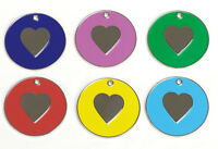 *20mm Cat Heart ID Tag Assorted Colours, with Spilt Ring FREE ENGRAVING