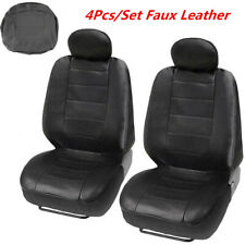 4Pcs/Set Black Comfort Faux Leather Seat Protector Covers For Car Front Seat