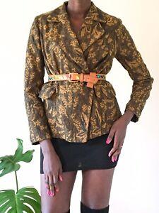 Unbranded Ladies Blazer Floral dark yellow UK size M 10-12 print jacket