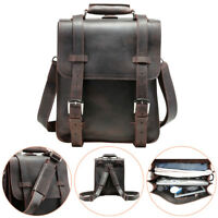 "Hiking Thick Bull Leather Mens 14"" Laptop Briefcase Backpack Shoulder Travel Bag"
