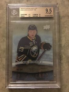 14-15 UD Ice Premieres #160 Sam Reinhart Rookie RC BGS 9.5 Almost Pristine