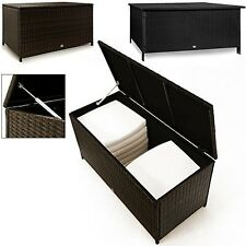 Waterproof Rattan Garden Storage Box Outdoor Cushion Deck Chest Black Patio