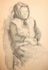 1955 Old woman portrait watercolor painting signed