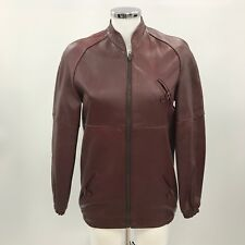 VINTAGE Burgundy Red Leather Bomber Jacket Zip Up Retro Size 40 UK 12 14 36938