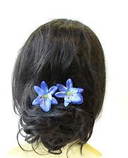 2 x blue cattleya orchidée fleur épingles à cheveux vintage rockabilly clip nuptiale 1448
